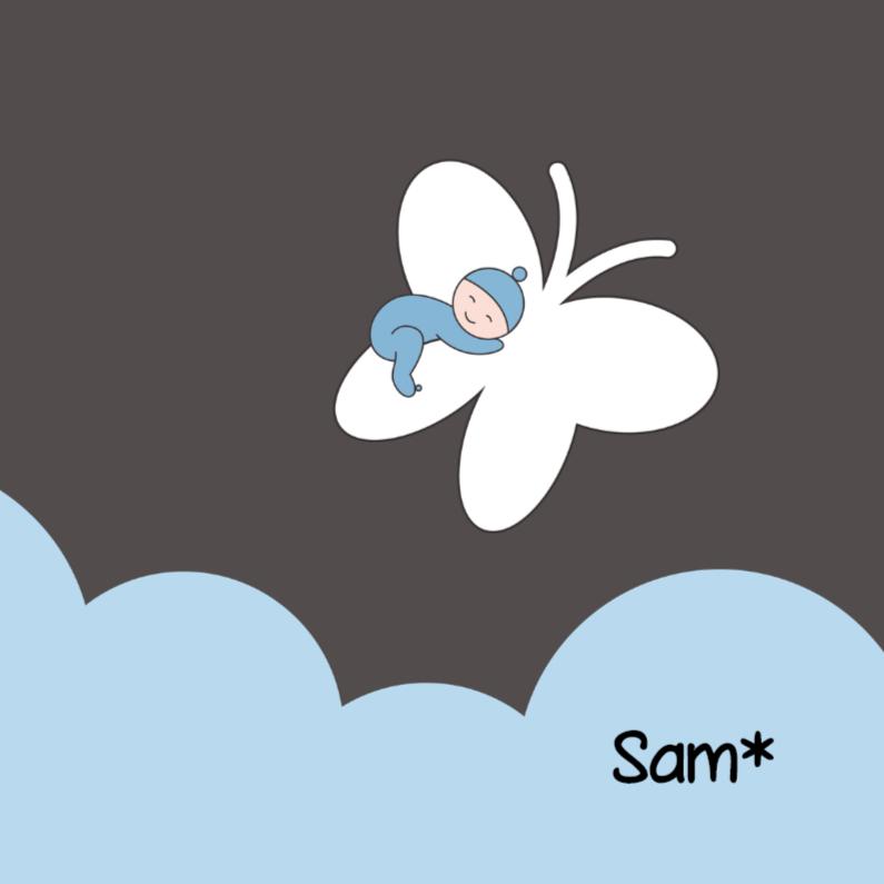 Rouwkaarten - Rouwkaartje jongen op vlinder
