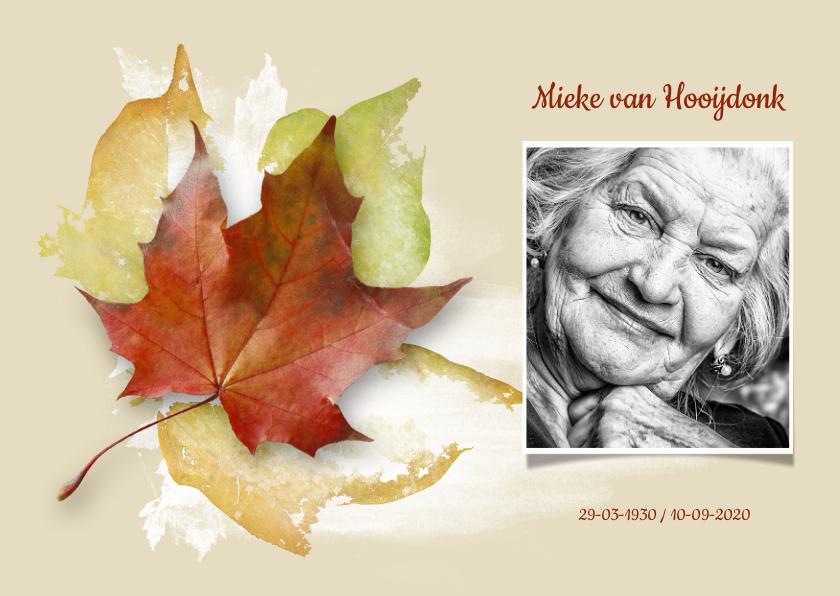 Rouwkaarten - Stijlvolle rouwkaart herfst met eigen foto