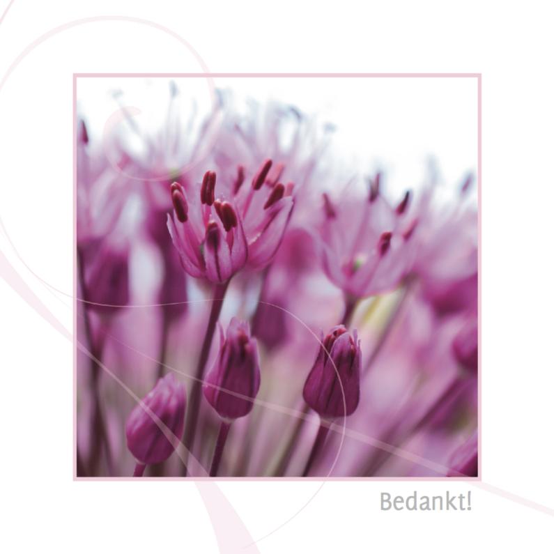 Rouwkaarten - tere paarse bloem rouw bedankkaarten