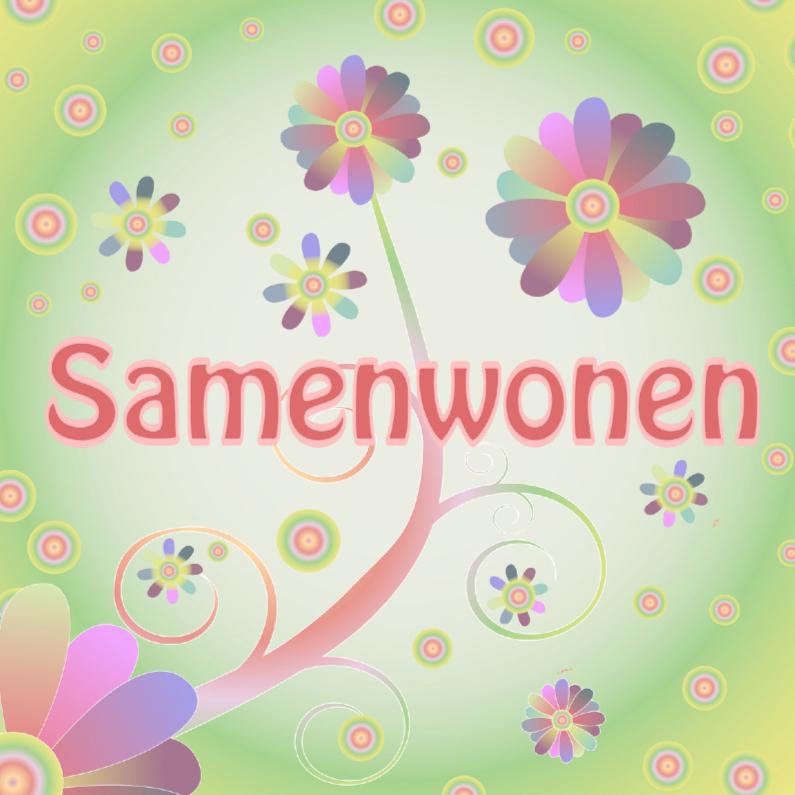Samenwonen kaarten - flowerpower-samenwonen