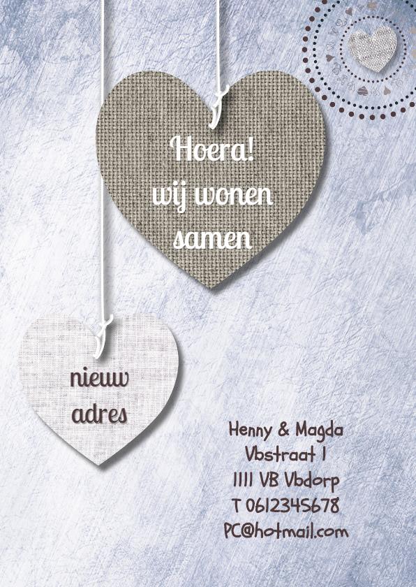 Samenwonen kaarten - Print van hangende harten & txt