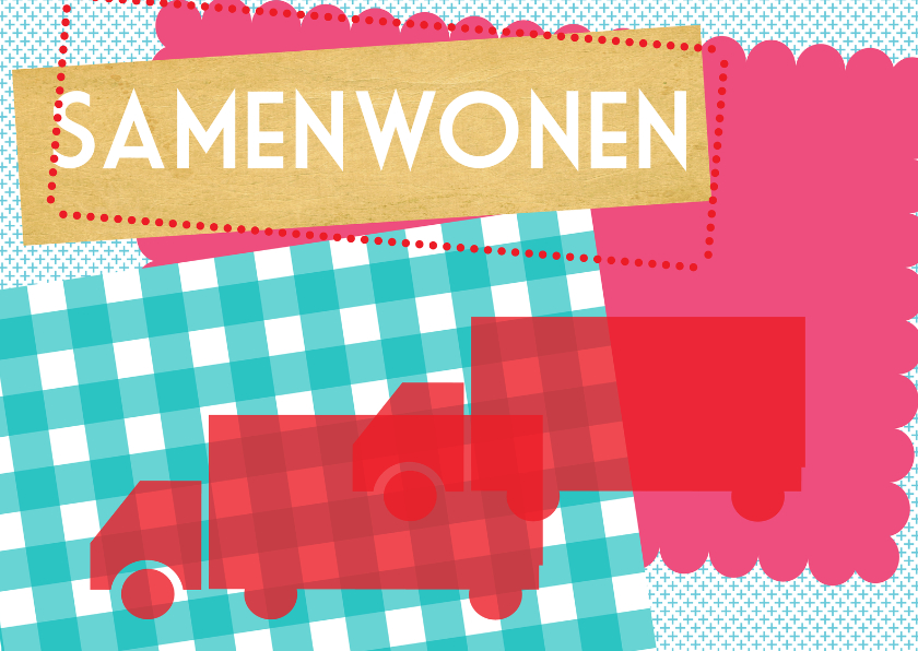 Samenwonen kaarten - Red moving trucks