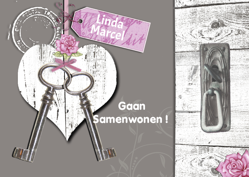 Samenwonen kaarten - Samenwonen met houten hart en sleutels