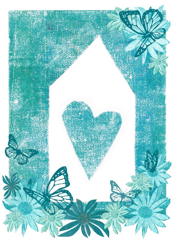 Samenwonen kaarten - verhuiskaart bloemen vlinders en hart