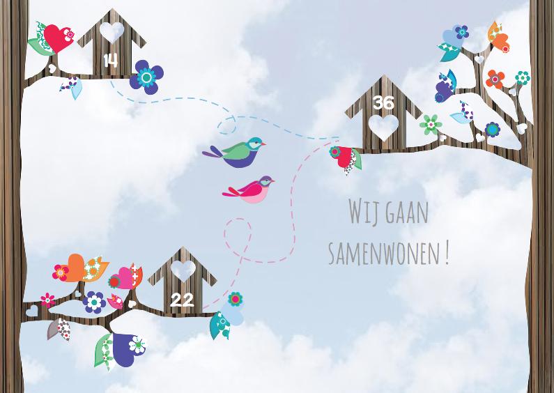 Samenwonen kaarten - Verhuiskaart samenwonen vogels l
