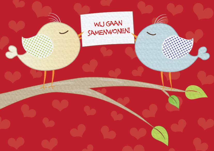 Samenwonen kaarten - Vogels met kaartje samenwonen