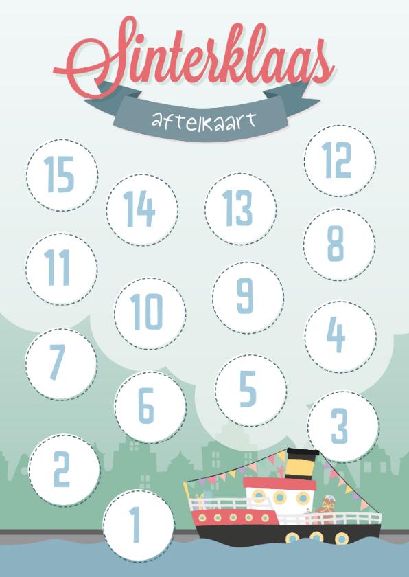 Sinterklaaskaarten - Aftelkaart tot pakjesavond of de intocht sinterklaaskaart