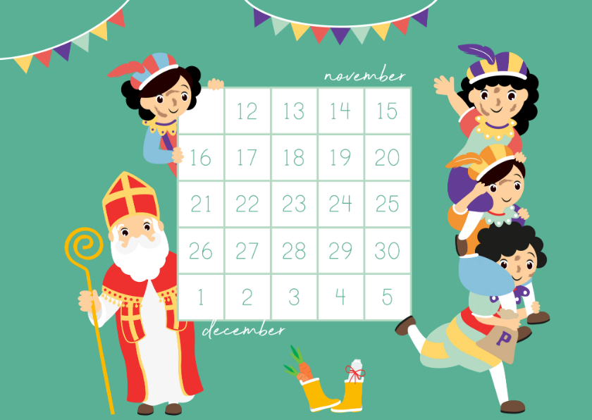 Sinterklaaskaarten - Aftellen naar Sint met deze aftelkalender
