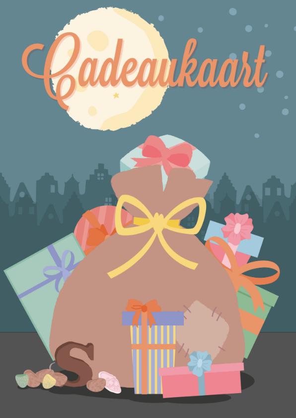 Sinterklaaskaarten - Een cadeaukaart met een tekening van de zak van sinterklaas.