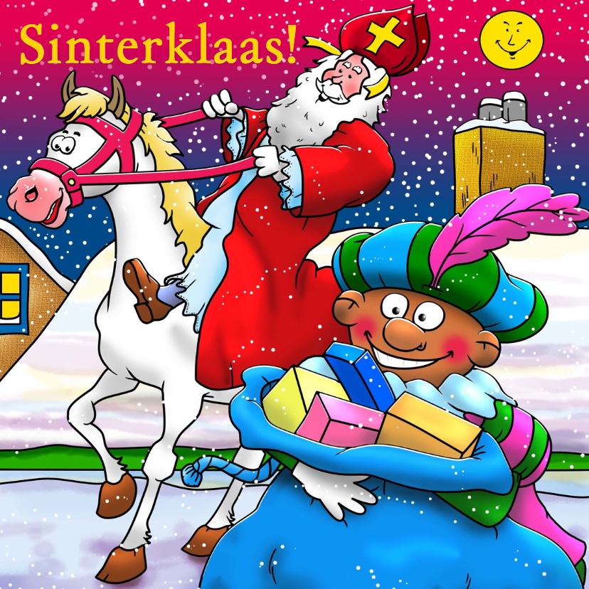 Sinterklaaskaarten - Grappige Sinterklaaskaart met Sint en Piet op het dak