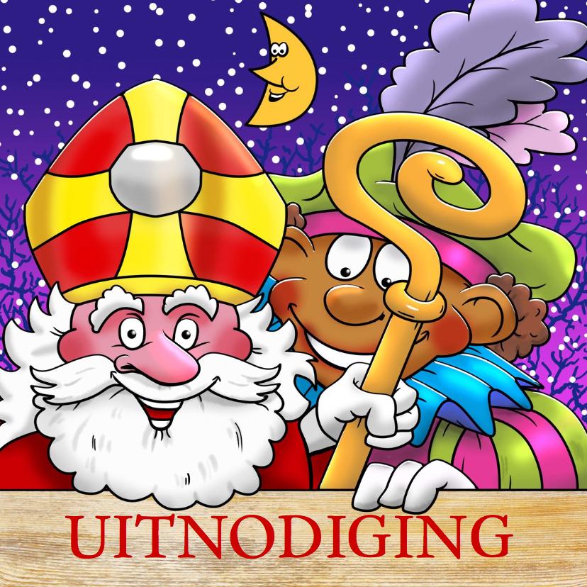 Sinterklaaskaarten - Grappige Sinterklaaskaart uitnodiging voor Sinterklaas avond