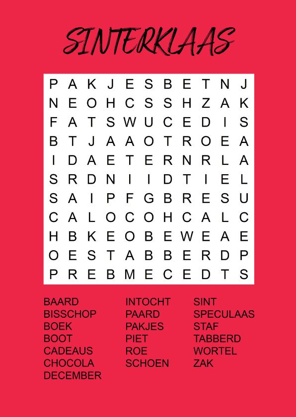 Sinterklaaskaarten - Puzzelkaartje met woordzoeker Sinterklaas