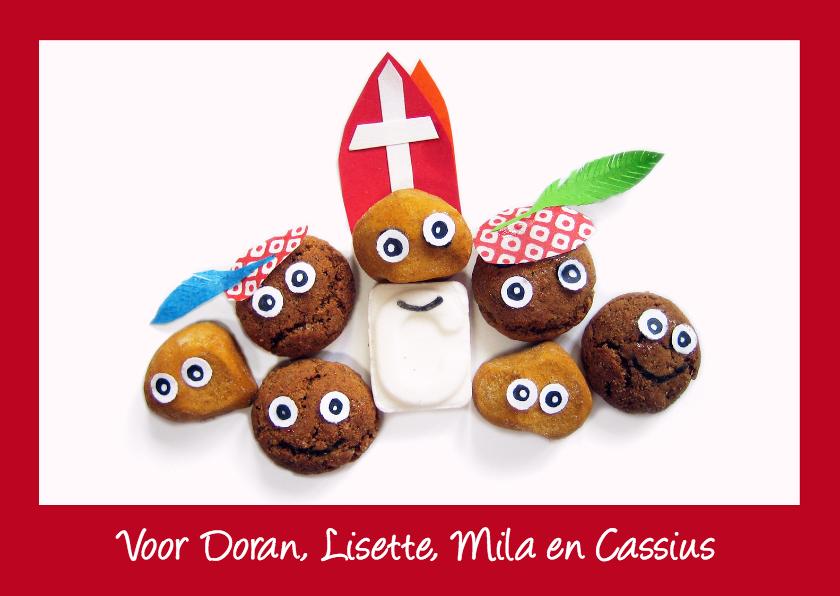 Sinterklaaskaarten - Sint en Piet van snoepgoed met rode rand