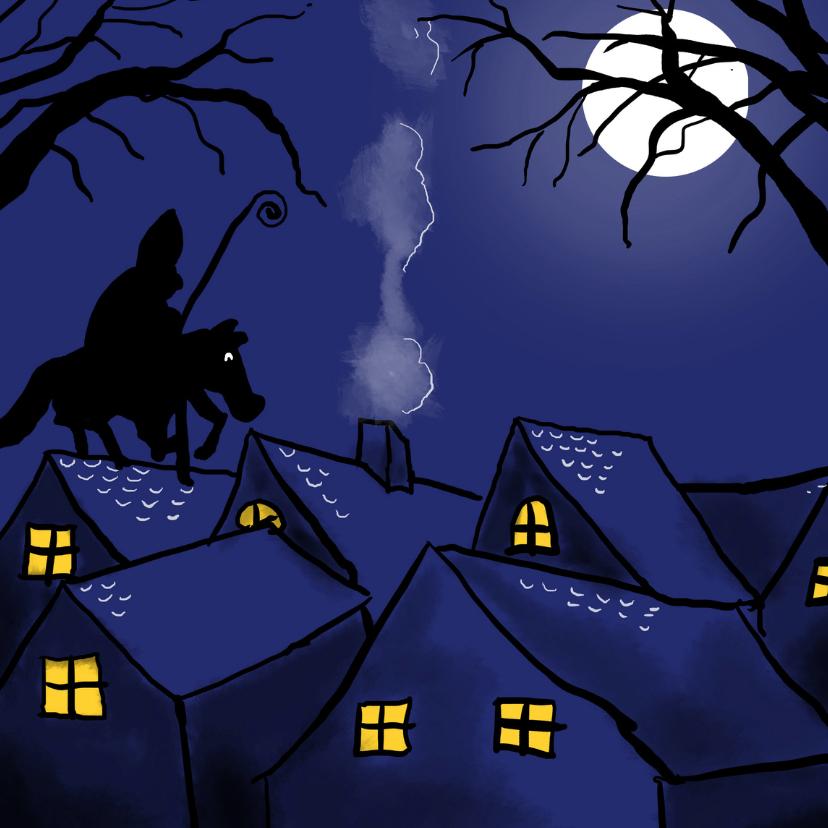 Sinterklaaskaarten - Sint op de daken - vierkant