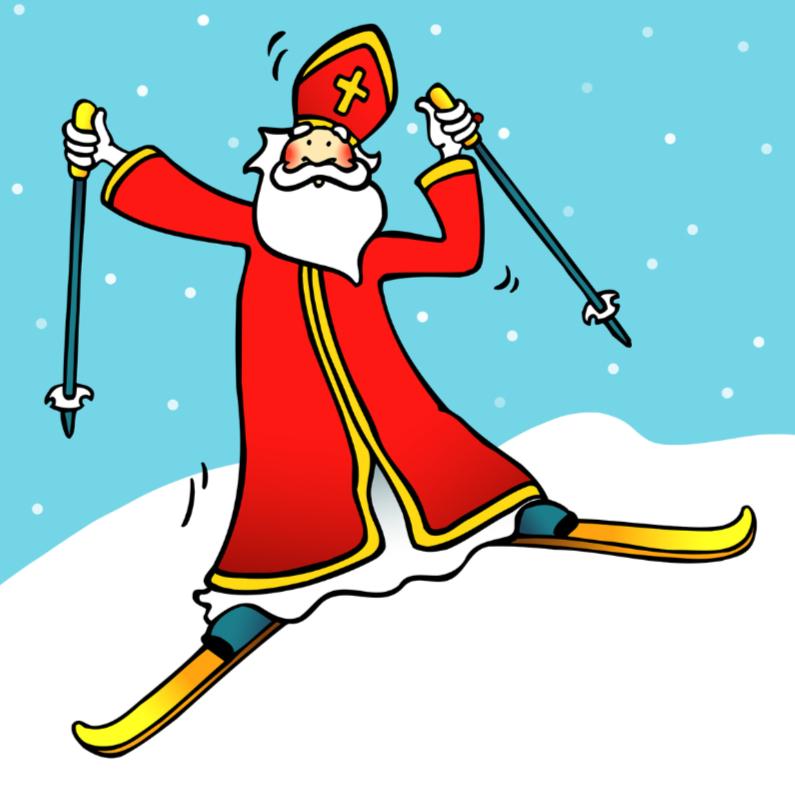 Sinterklaaskaarten - Sint op ski's