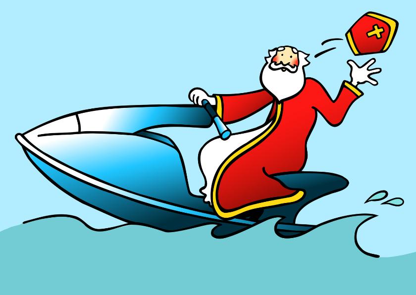 Sinterklaaskaarten - Sint op waterscooter