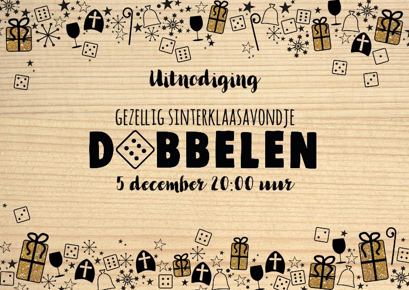 Sinterklaaskaarten - Sinterklaas feestelijke uitnodiging dobbelspel