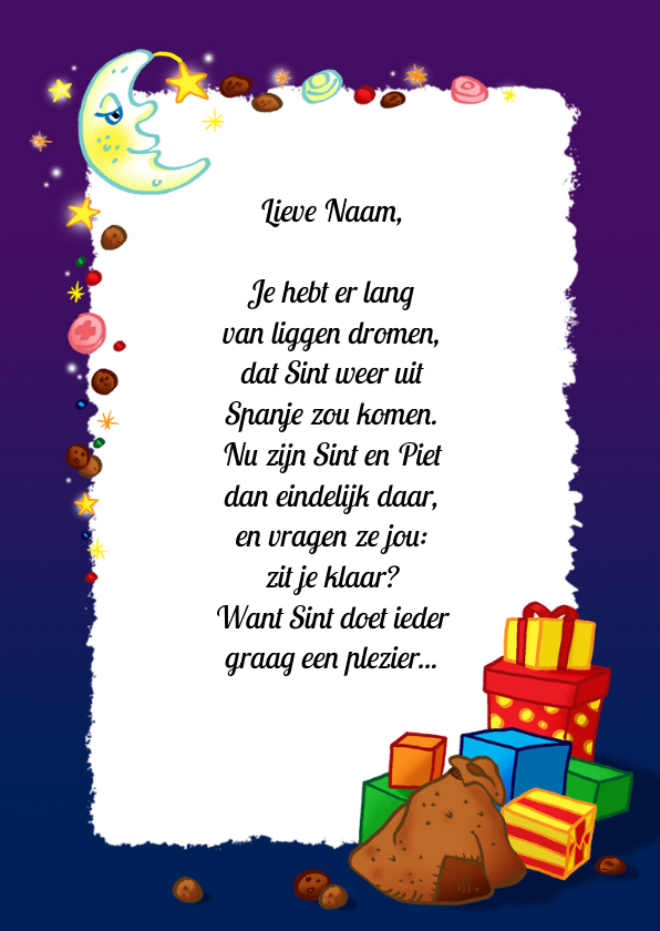 Sinterklaaskaarten - Sinterklaas gedichtpapier pakjesavond