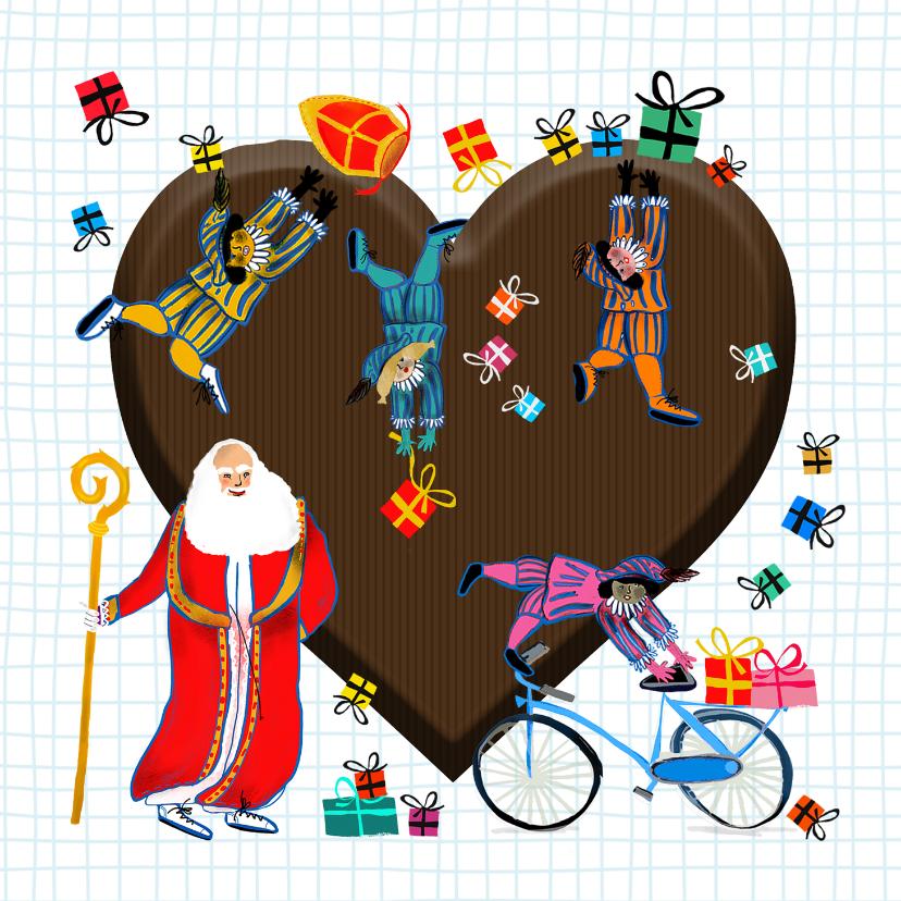 Sinterklaaskaarten - Sinterklaas kaart met chocolade hart
