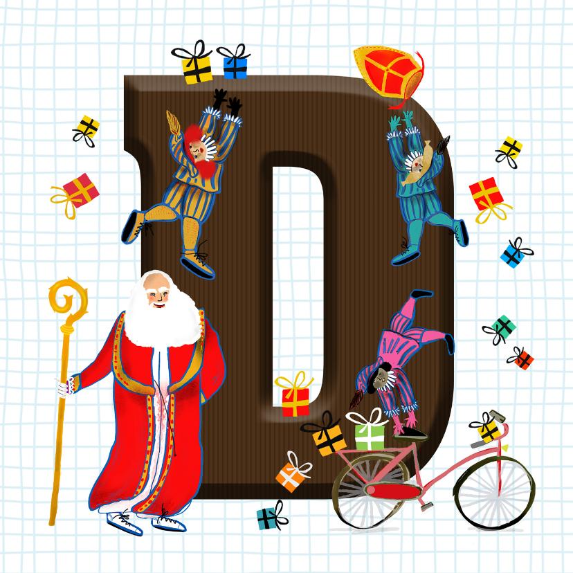 Sinterklaaskaarten - Sinterklaas kaart met chocolade-letter D