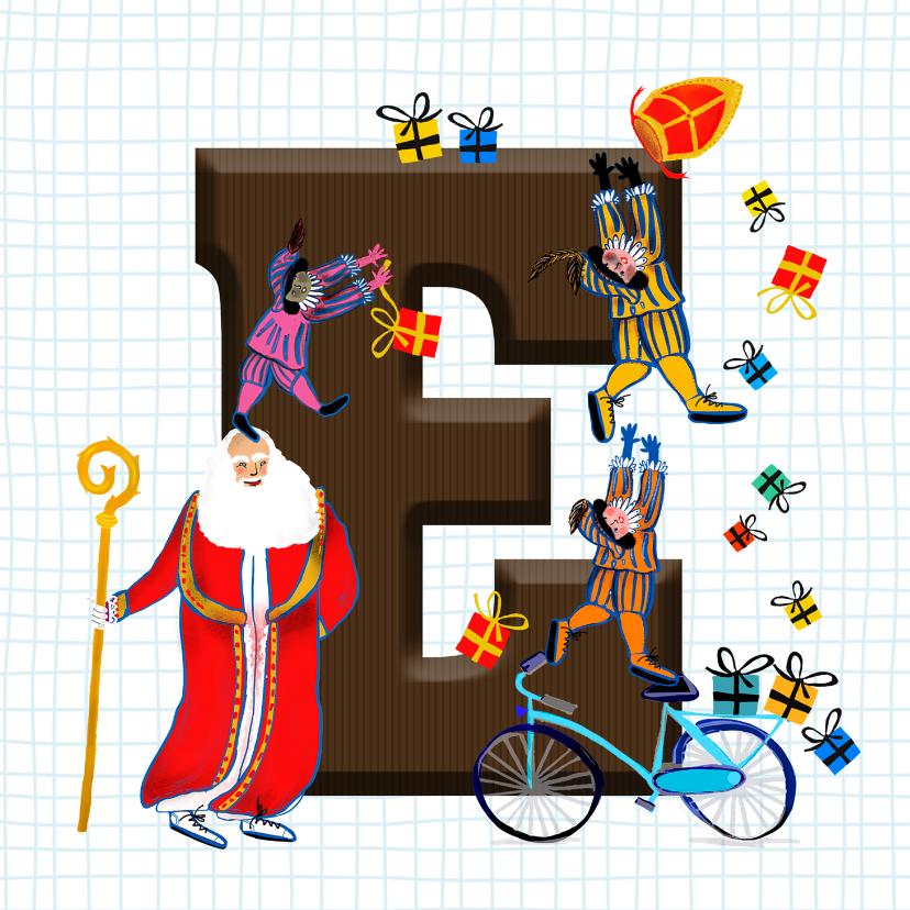 Sinterklaaskaarten - Sinterklaas kaart met chocolade-letter E