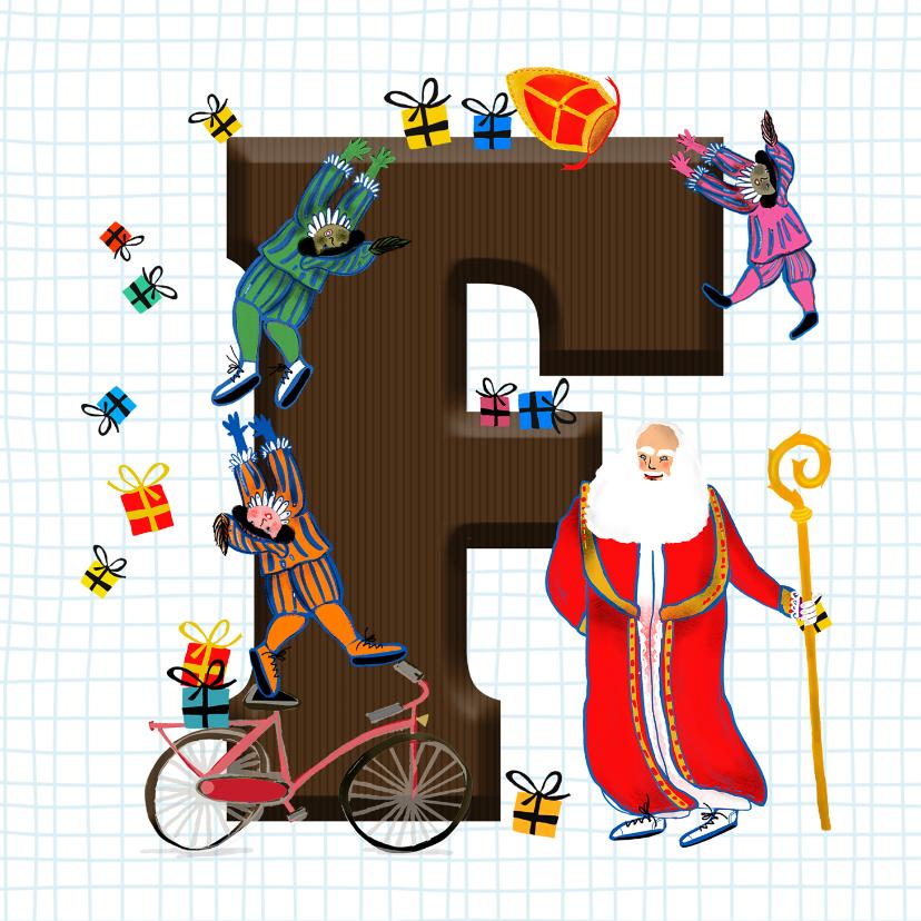 Sinterklaaskaarten - Sinterklaas kaart met chocolade-letter F