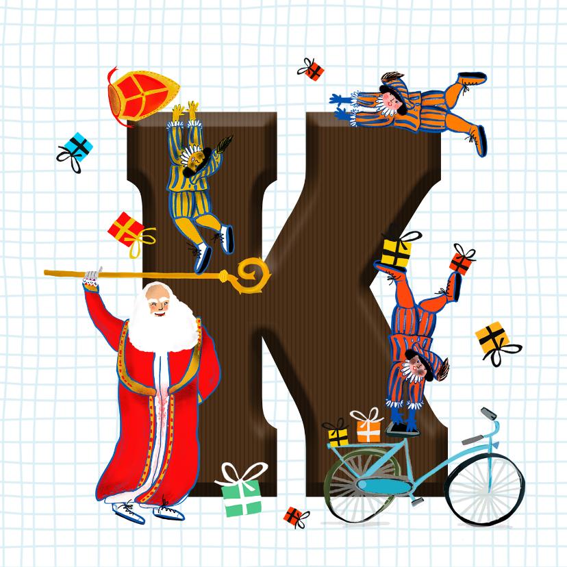 Sinterklaaskaarten - Sinterklaas kaart met chocolade-letter K