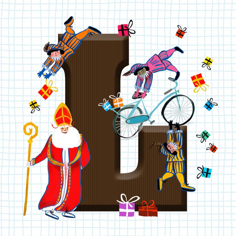 Sinterklaaskaarten - Sinterklaas kaart met chocolade-letter L
