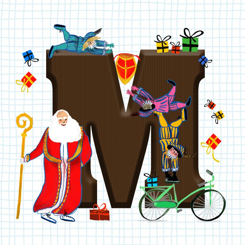 Sinterklaaskaarten - Sinterklaas kaart met chocolade-letter M