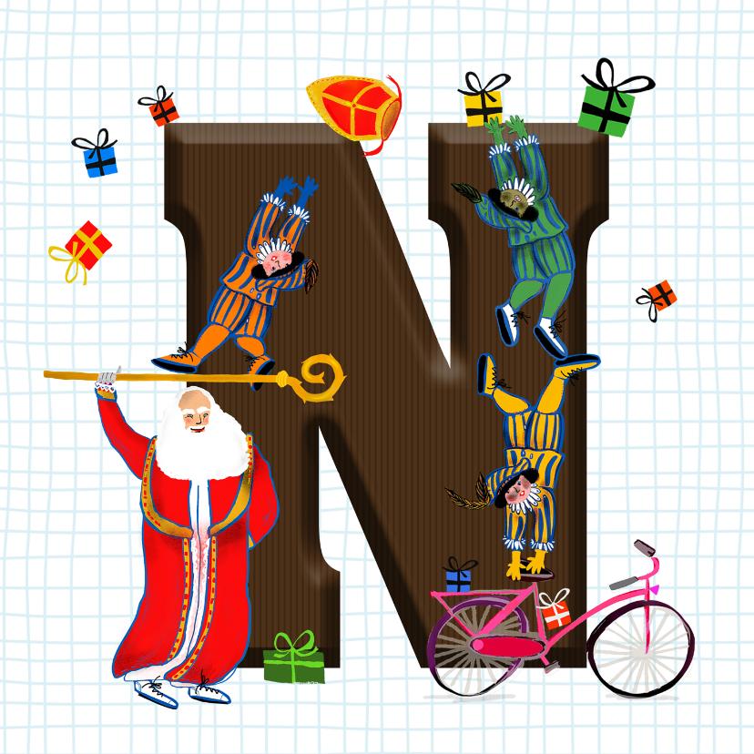 Sinterklaaskaarten - Sinterklaas kaart met chocolade-letter N