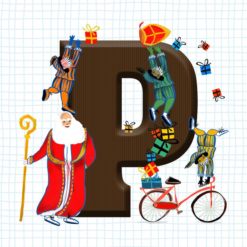Sinterklaaskaarten - Sinterklaas kaart met chocolade-letter P