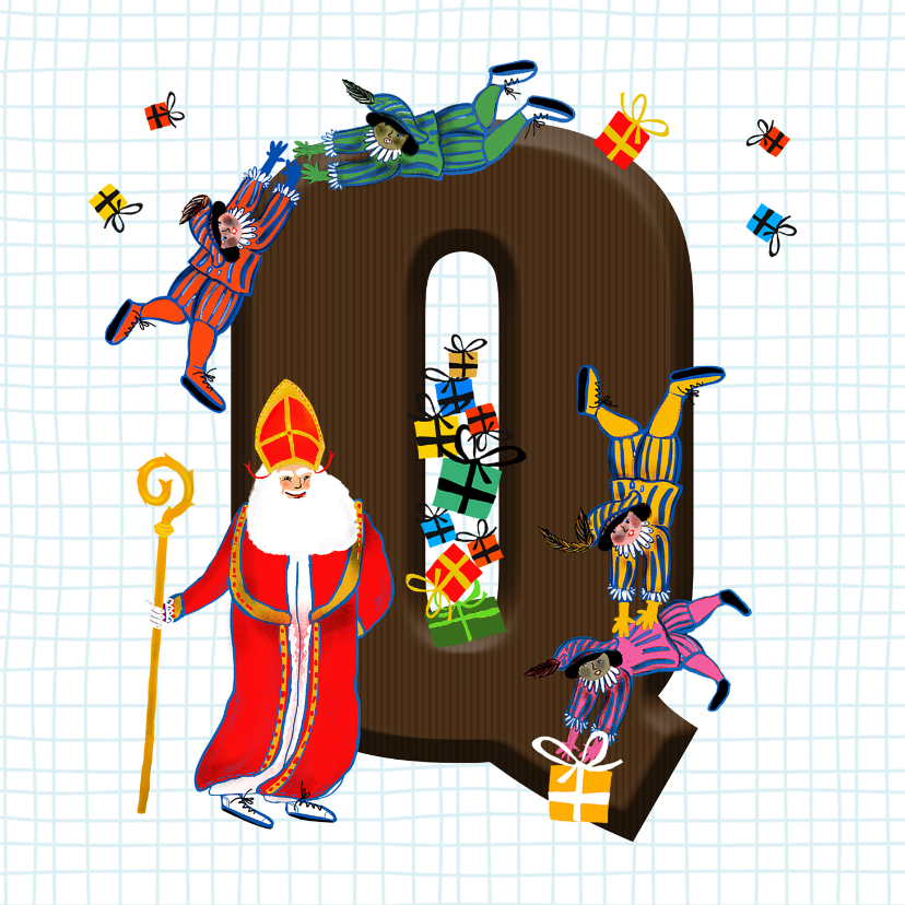Sinterklaaskaarten - Sinterklaas kaart met chocolade-letter Q
