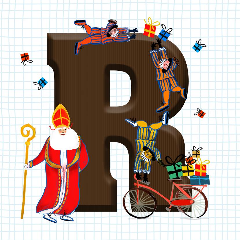 Sinterklaaskaarten - Sinterklaas kaart met chocolade-letter R