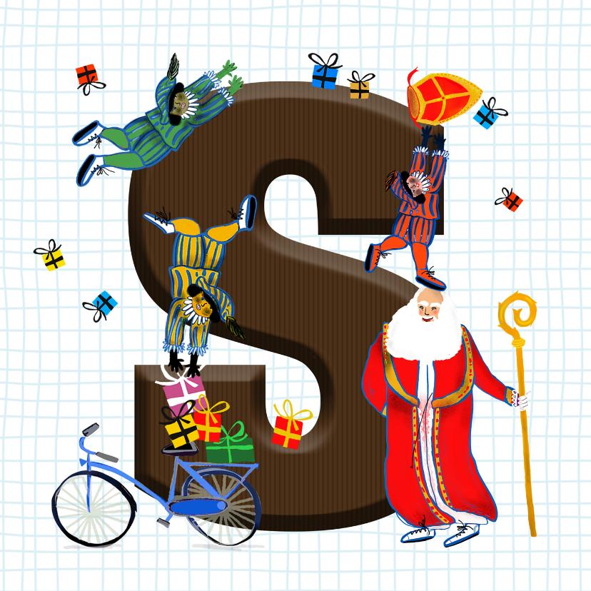 Sinterklaaskaarten - Sinterklaas kaart met chocolade-letter S