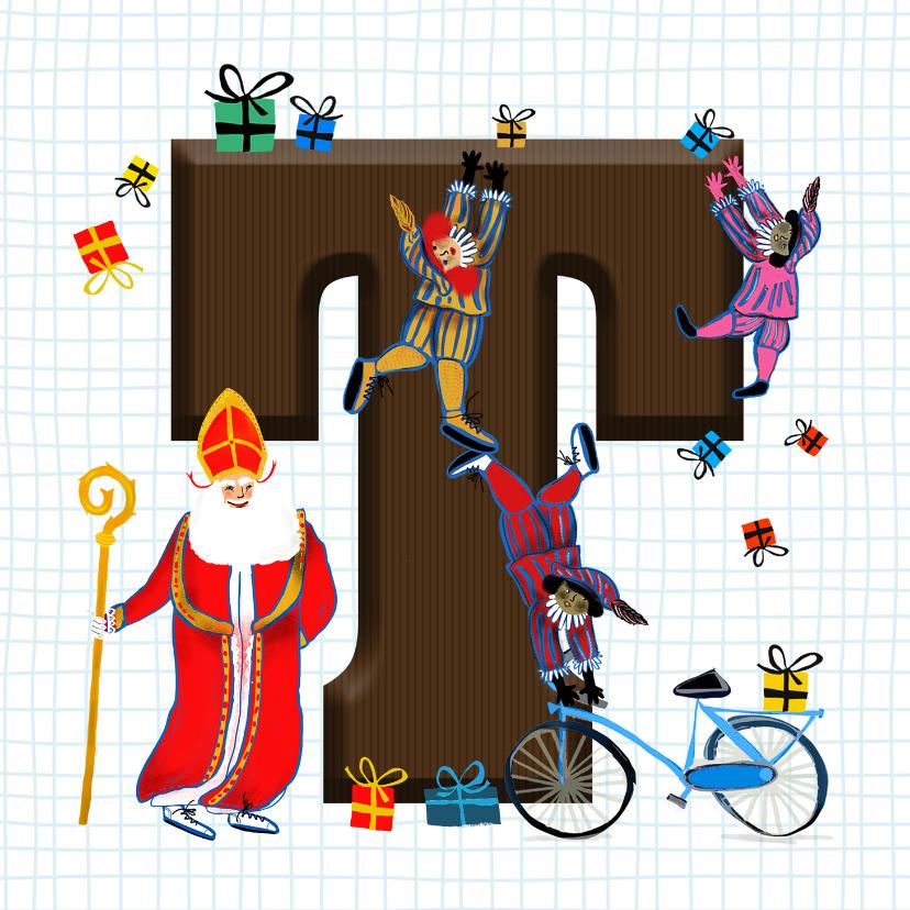 Sinterklaaskaarten - Sinterklaas kaart met chocolade-letter T