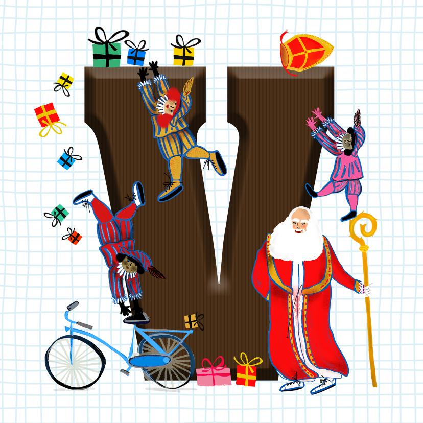 Sinterklaaskaarten - Sinterklaas kaart met chocolade-letter V