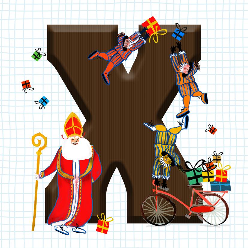 Sinterklaaskaarten - Sinterklaas kaart met chocolade-letter X