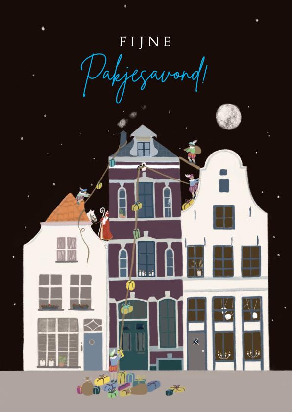 Sinterklaaskaarten - Sinterklaas kaart Sint en Pieten op het dak