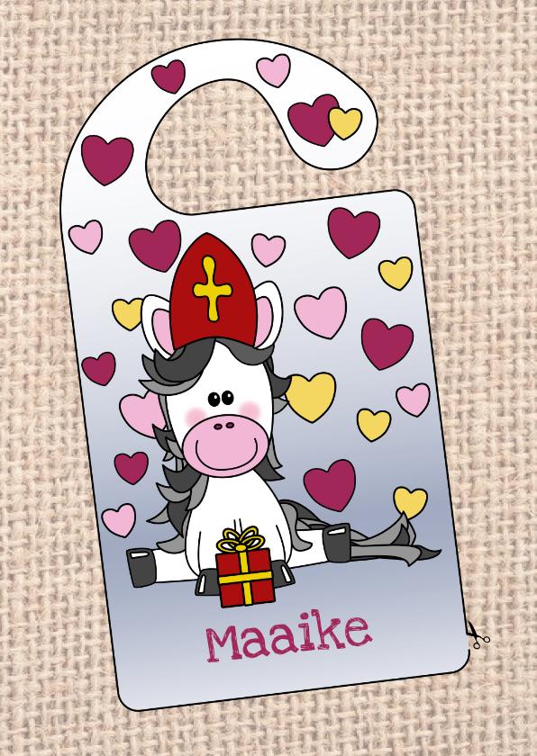 Sinterklaaskaarten - Sinterklaas knutselkaart deurhanger met lief paard en naam