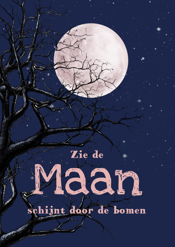Sinterklaaskaarten - Sinterklaas Maan schijnt door de bomen