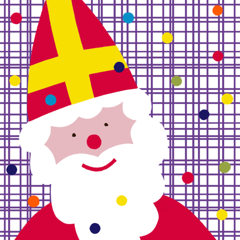 Sinterklaaskaarten - Sinterklaas met Ruit en Stippen