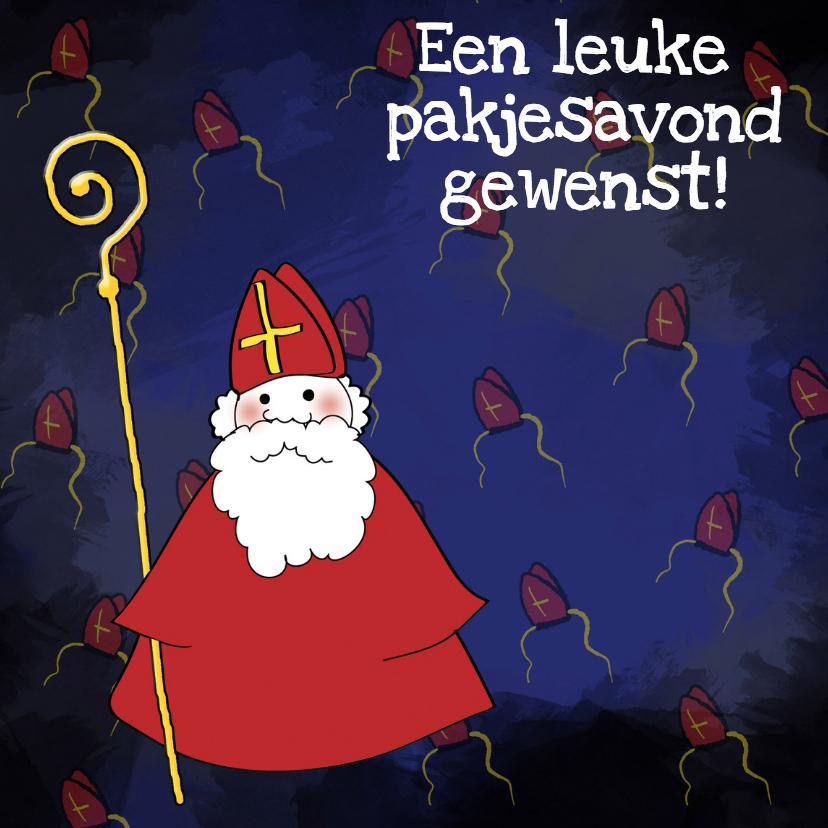 Sinterklaaskaarten - Sinterklaas met staf