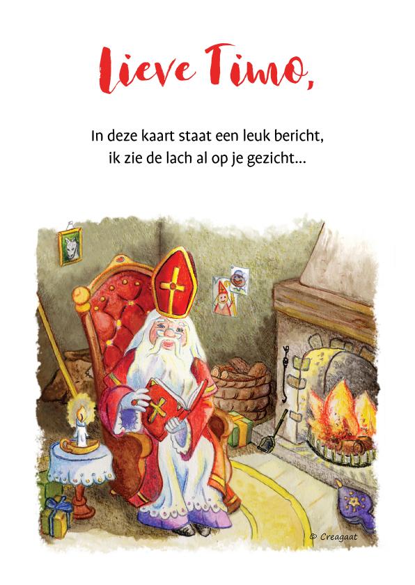 Sinterklaaskaarten - Sinterklaas schoen zetten bij open haard