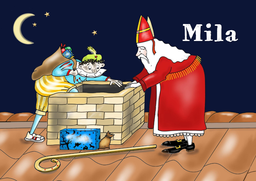 Sinterklaaskaarten - Sinterklaas - Sint en piet bij de schoorsteen