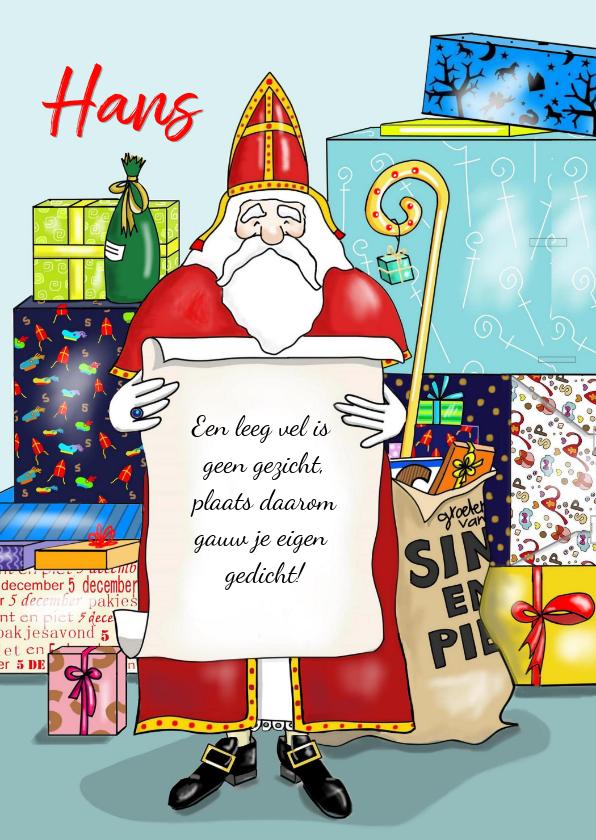 Sinterklaaskaarten - Sinterklaas - Sint met gedicht en een berg pakjes