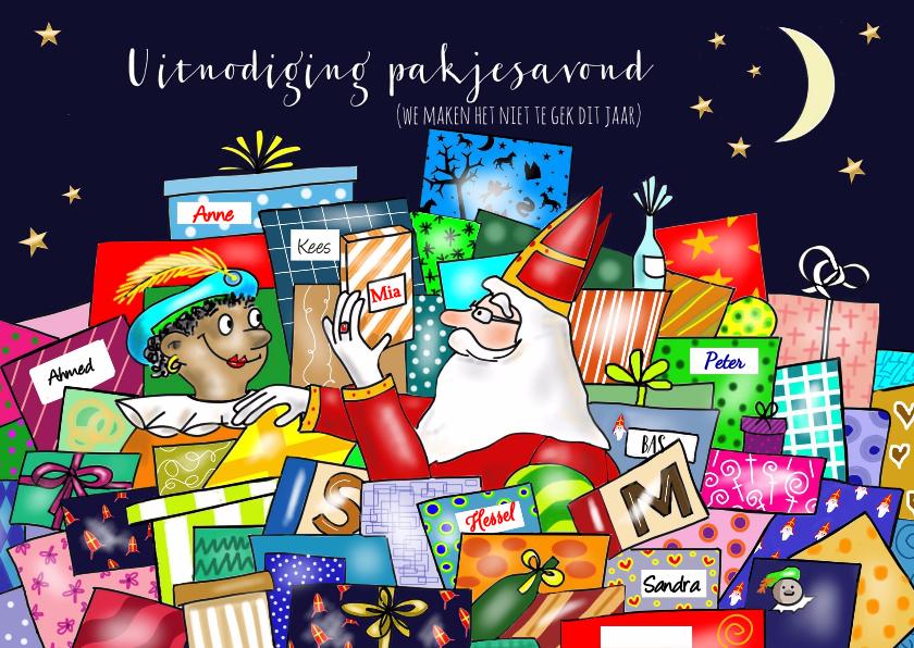 Sinterklaaskaarten - Sinterklaas - uitnodiging pakjes avond