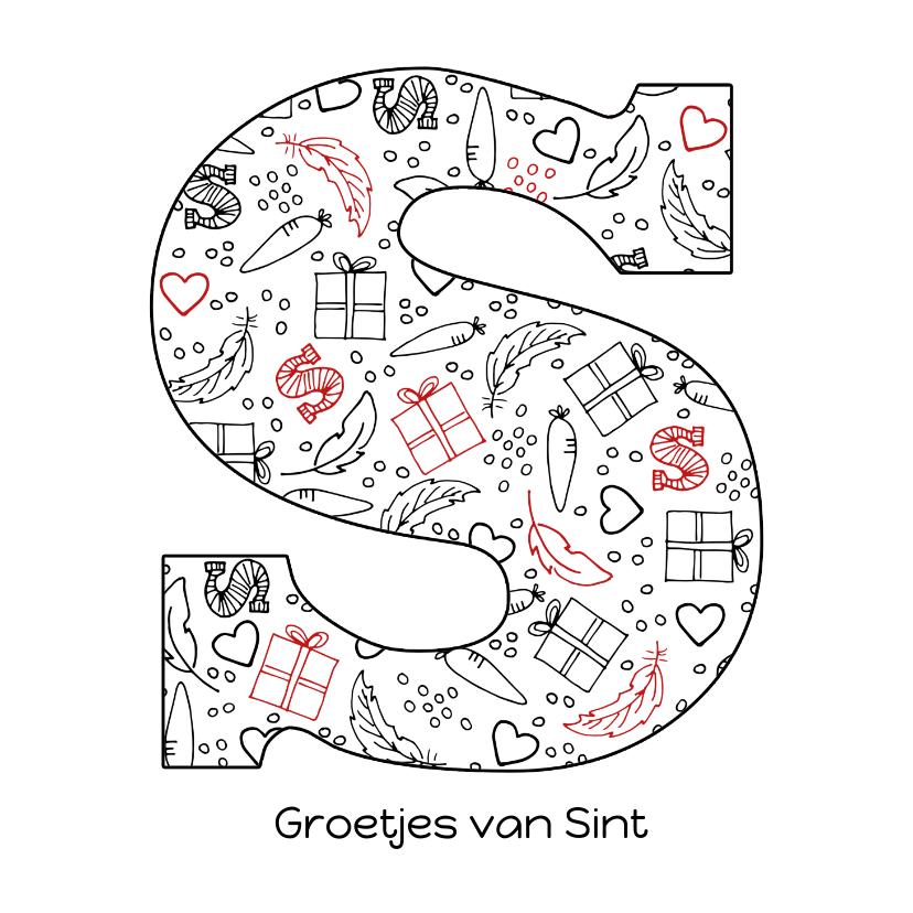 Sinterklaaskaarten - Sinterklaaskaart chocoladeletter S - groetjes van Sint