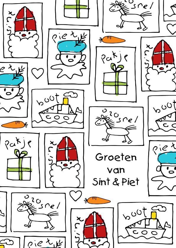 Sinterklaaskaarten - Sinterklaaskaart kindertekeningen Sint en Piet