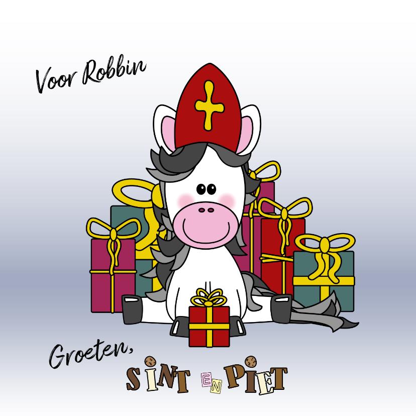 Sinterklaaskaarten - Sinterklaaskaart lief paardje met een mijter en cadeaus