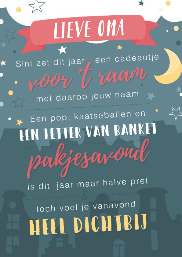Sinterklaaskaarten - Sinterklaaskaart met gedichtje: We missen jou
